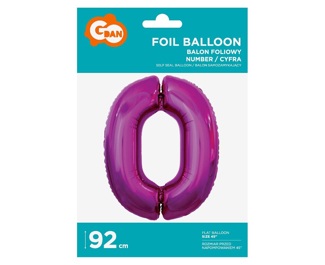 Folienballon Nummer 0 Pink 92 cm