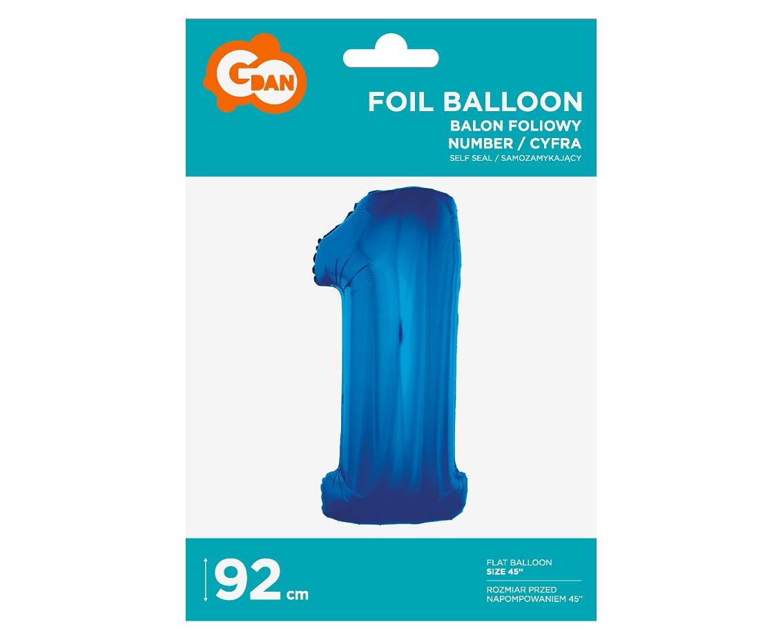 Folienballon Nummer 1 Blau 92 cm