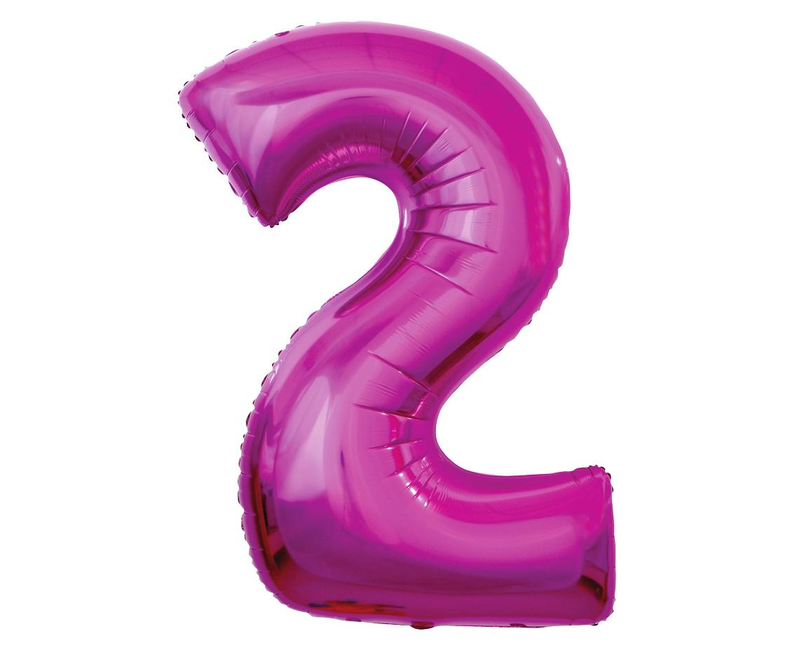 Folienballon Nummer 2 Pink 92 cm