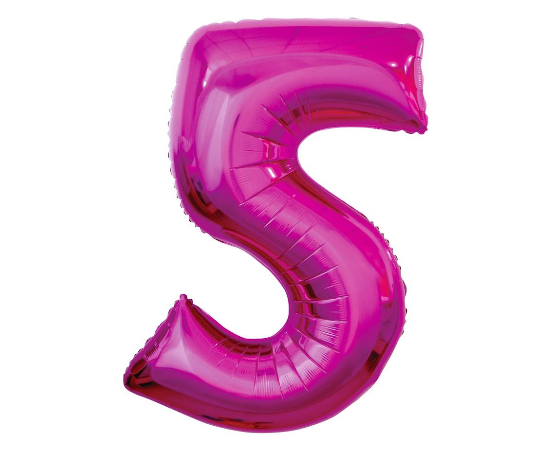 Folienballon Nummer 5 Pink 92 cm