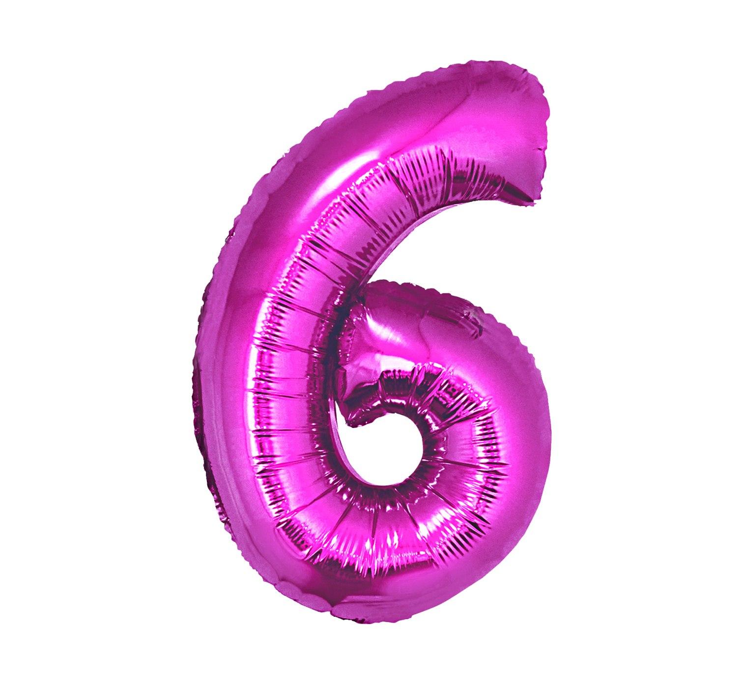 Folienballon Nummer 6 Pink 92 cm