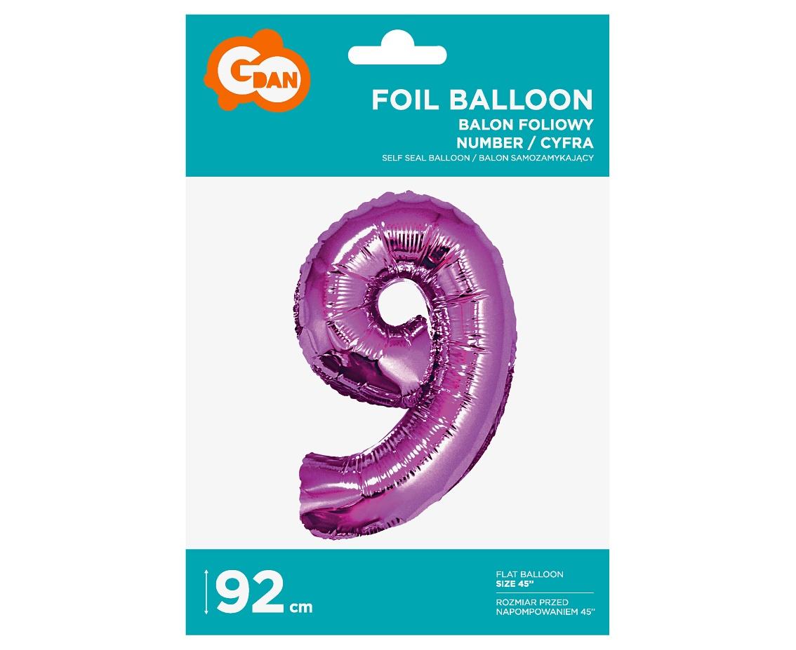 Folienballon Nummer 9 Pink 92 cm