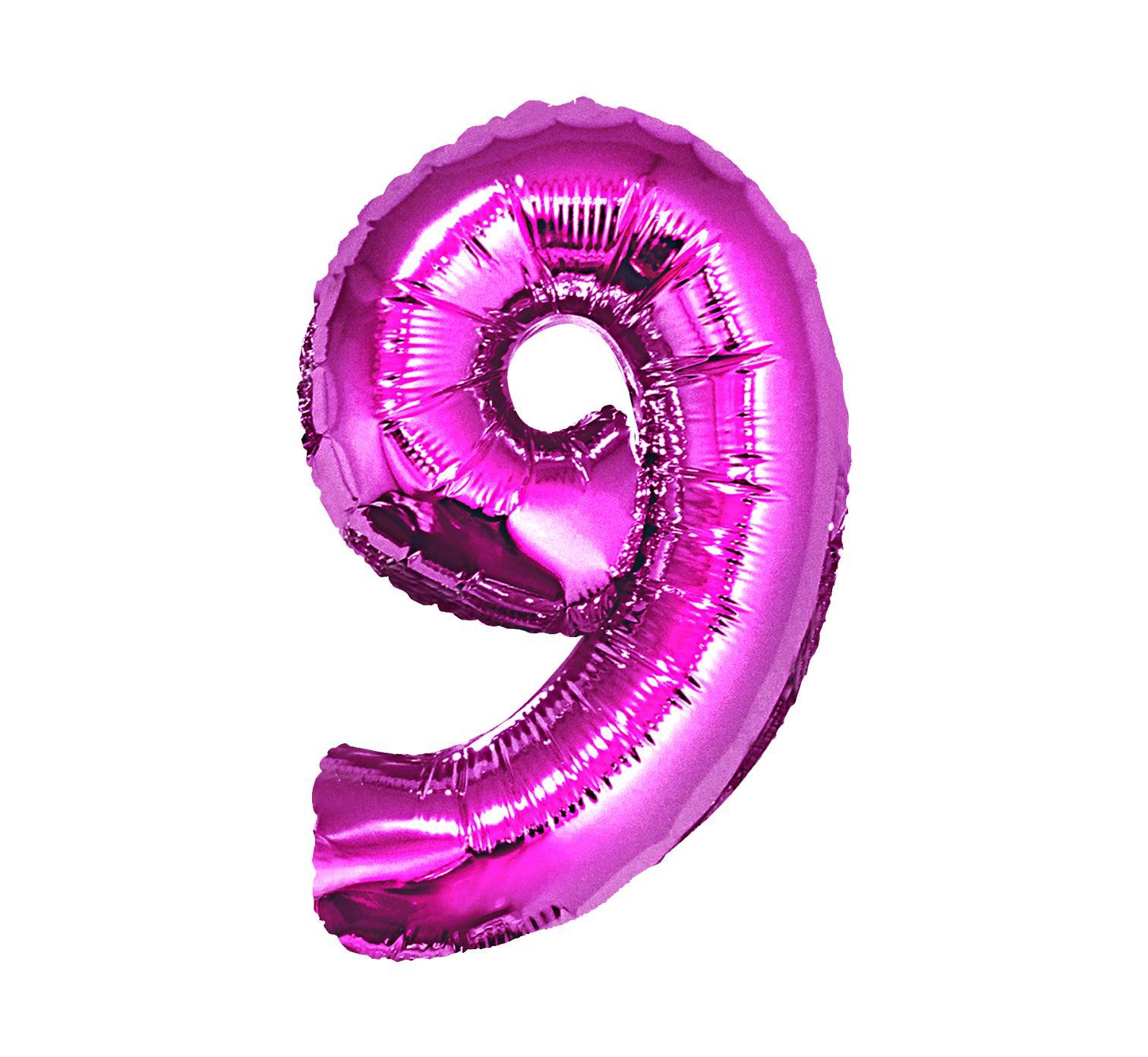 Folienballon Nummer 9 in Pink 92 cm