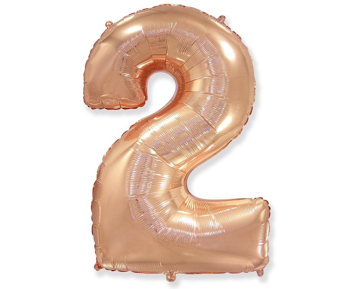 Folienballon Nummer 2 Rosa Gold 85 cm