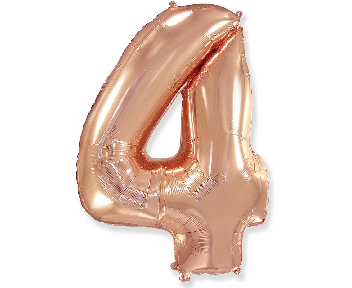 Folienballon Nummer 4 Rosa Gold 85 cm