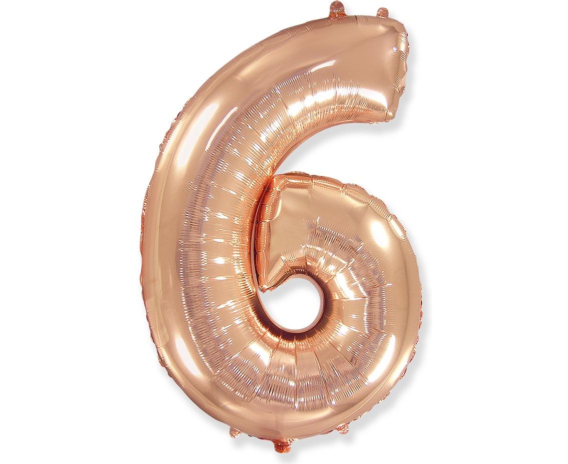 Folienballon Nummer 6 Rosa Gold 85 cm