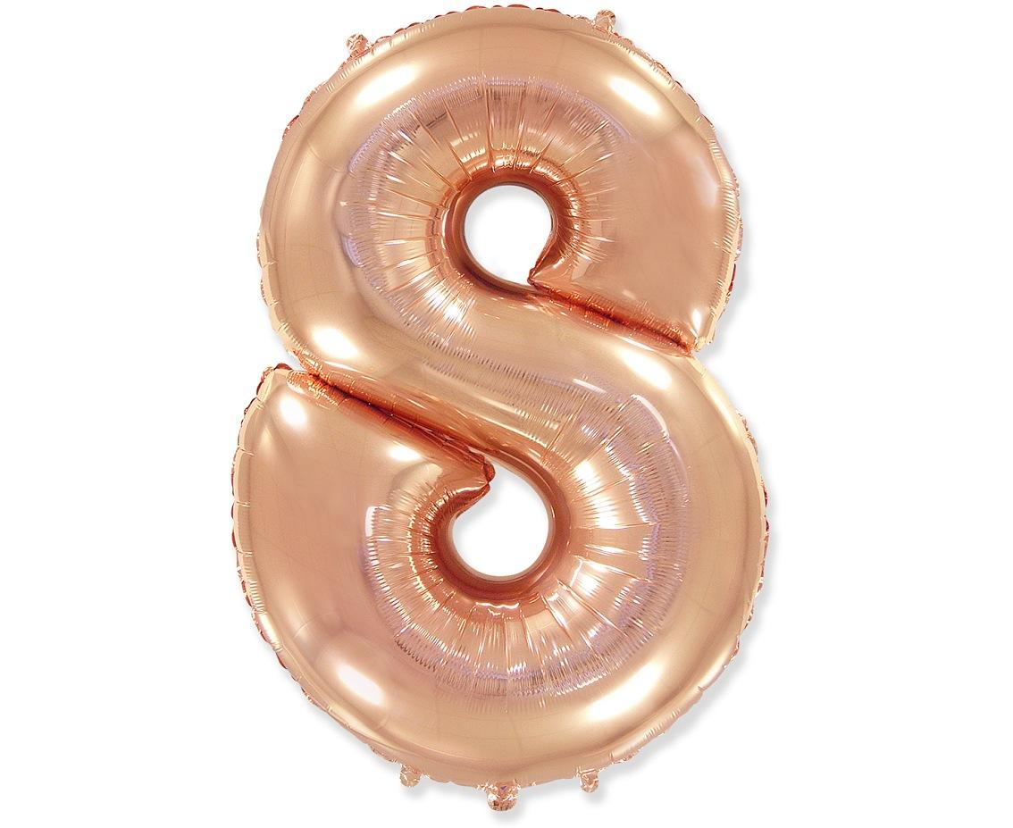 Folienballon Nummer 8 Rosa Gold 85 cm
