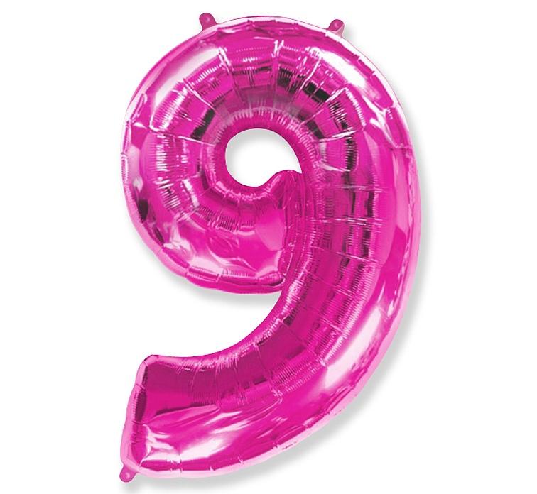 Folienballon Nummer 9 Pink 85 cm