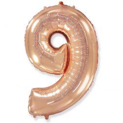 Folienballon Nummer 9 Rosa Gold 85 cm